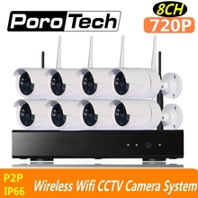 720P 8CH wifi cctv kits Wireless NVR kits CCTV System outdoor indoor IP camera set for home factory office 500m cascade mode