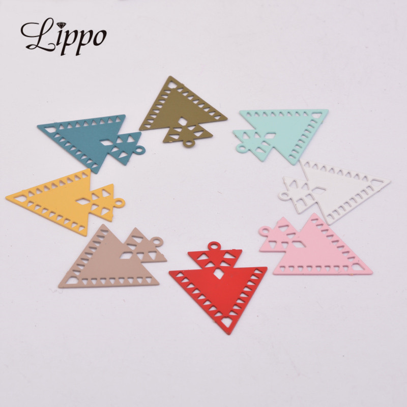 50pcs AC10451 Silver Small Triangle Charm Earrings Findings Geometric Colorful Pendants Connectors Diy Jewelry Earrings