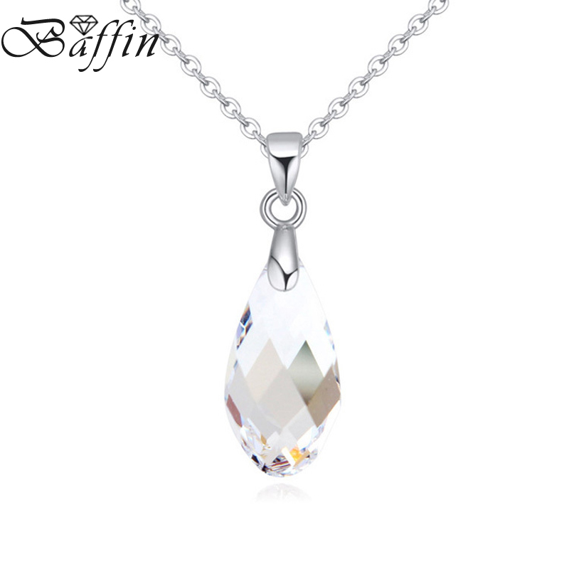 c708e623375f0 US $12.32 21% OFF|BAFFIN 100% Genuine Crystals from Swarovski Teardrop  Pendant Necklace Summer Jewelry for Women Bijoux-in Pendant Necklaces from  ...