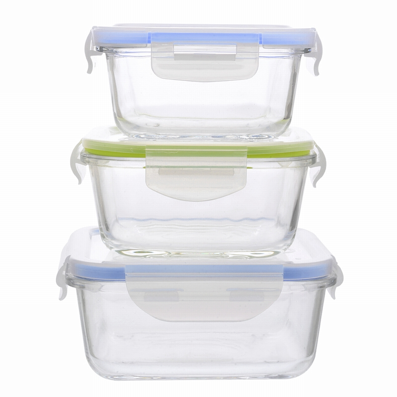 Hoomall 3pcs Rectangular Storage Box With Lid Glass Student Sealed Lunch Box Food Storage Containers Reusable Square Organizers lid