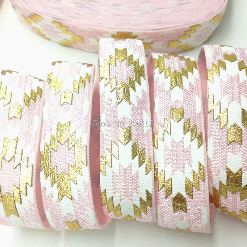 High Quality Gold Foil Aztec Print Fold Over Elastic Ribbon 5/8 Pink Aztec FOE Ribbon For DIY Hair Accessories 10Yards/lot