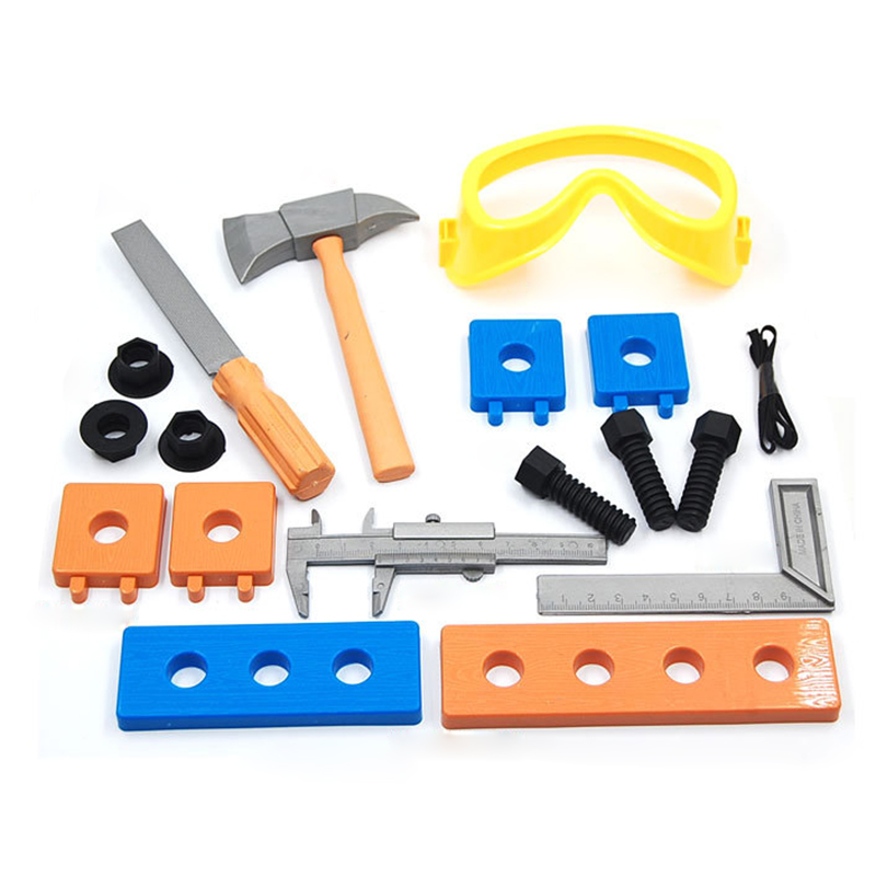 1Set Kids Early Educational simulation plastic tool toy hammer kit axe/hammer/ wood/screws/patch kids Plastic Safe Tools Toy P15