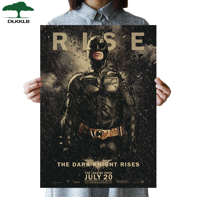 DLKKLB DC Batman Movie Vintage Poster Classic The Dark Knight B Style Bar Cafe Superhero Decor Painting 51.5x36cm Wall Sticker