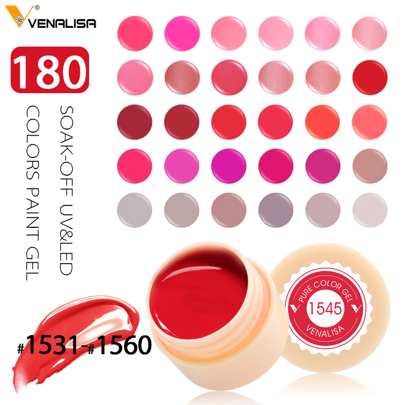 180 Solid Colors Nail Art Designs VENALISA 2019 Varm Salg Soak Off Paint Gel UV LED Blekk Color Paint Gel Nail Varnish Gel Lacquer