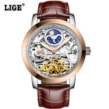 LIGE 2016 Nouvelle De Luxe Casual Horloge Hommes Montre Automatique Squelette D'affaires Montre Mécanique Relogio Mâle Montre Montre Mens Montres