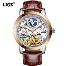 LIGE 2016 Nuevo Reloj Hombres Reloj Automático Esquelético de Lujo Casual de Negocios Reloj Mecánico Relogio Masculino Montre Reloj Para Hombre Relojes