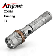 Anjoet Flashlight zoom torch waterproof XM-L T6 LED 5-mode led Zoomable Lanterna light For Rechargeable 3x AAA or 18650 Battery