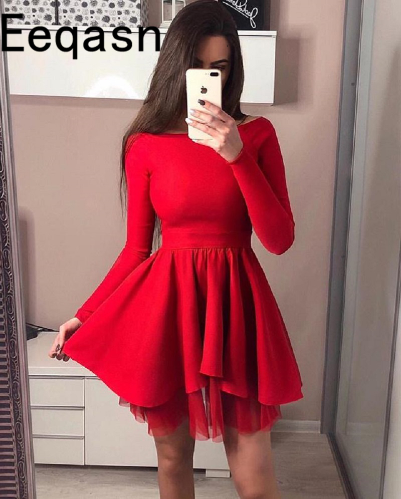 short long sleeve short red cocktail dress