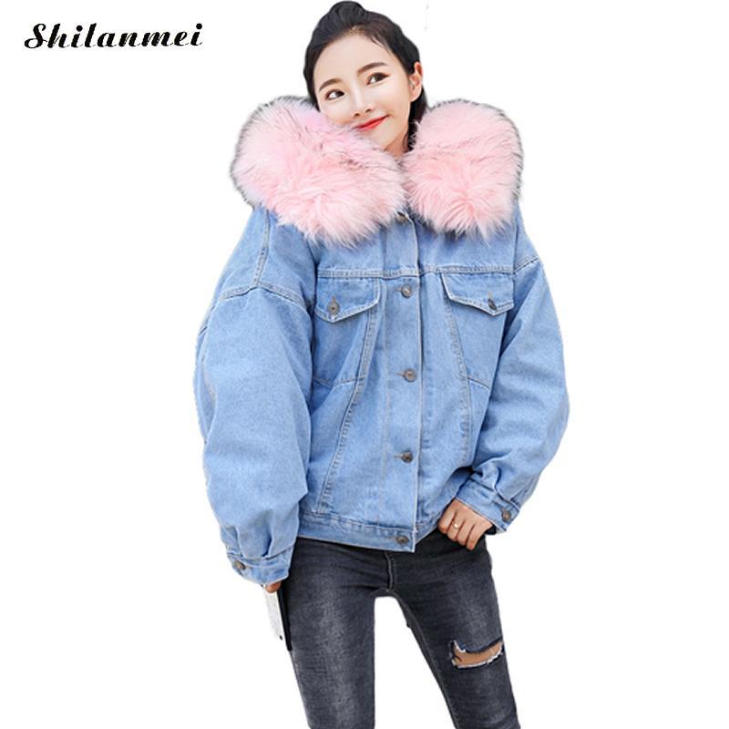 63966e1920297 Manteau Femme Gray De Fausse Fourrure Outwear Pink Causalité Hiver Parkas  hot Capuche Chaud Veste white Denim ...