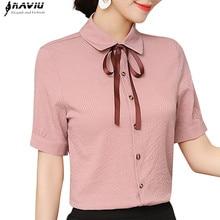 2019 New Elegant women summer bow shirt fashion formal short sleeve slim stripes blouse office ladies work tops