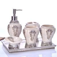 China Luxury 5pcs 6pcs Set Household Wash Brush Cup Liquid Soap Dispensers Soap Dishes Bathroom Set