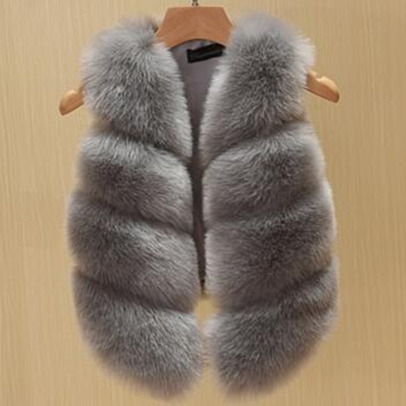 New Children's clothing Fur Vest Imitation Fox Fur Coat Girls Fall Winter New Short Section Vests Girl Waistcoat Baby Coat Top ein fall fur tessa