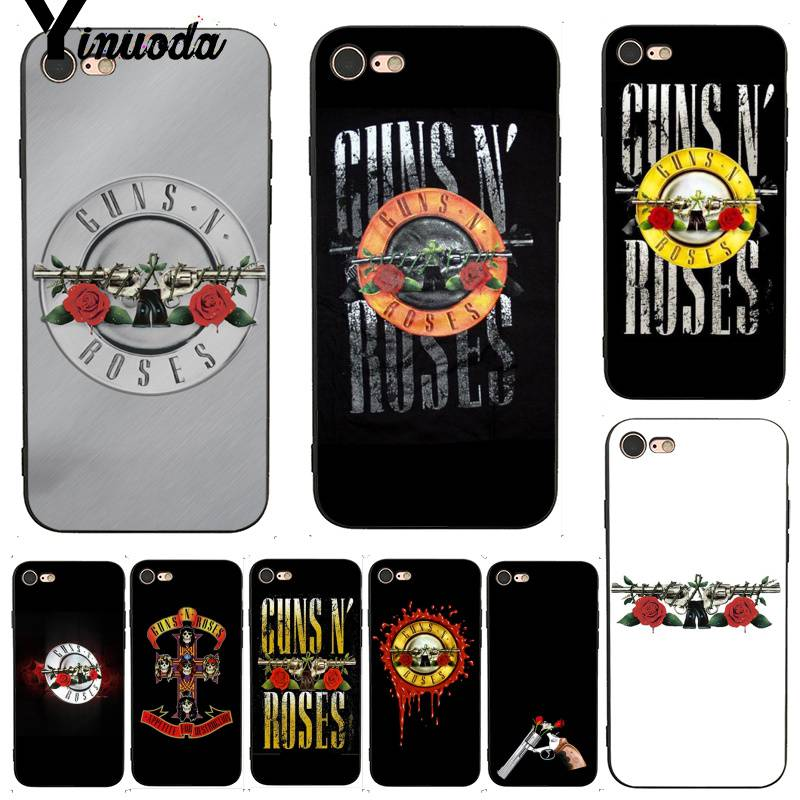 Yinuoda For Iphone 7 6 X Case Guns N Roses Drawing Painting Tpu Phone Case For Iphone 7 X 6 6s 8 Plus X 5 Xs Xr Xsmax