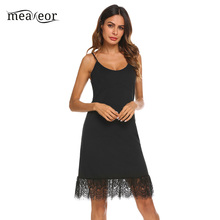 Meaneor Casual Black Lace Hem Dress Women Summer Sleeveless  Adjustable Spaghetti Strap Camisole Slip Top Dress Extender
