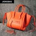 JIONGBAG 2017 Women Shoulder Bag PU Leather Solid Zipper Trapeze Bags Handbags Women Famous Brands Vintage Bag Ladies Tote Borse