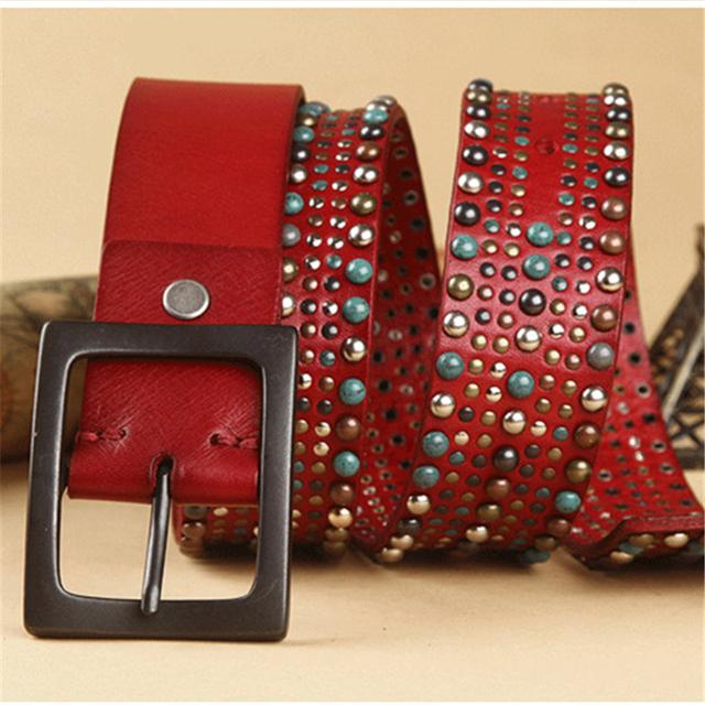 Cowgirl Colorido Stud Rivet Mulheres Cintos Para As Mulheres Cinto Largo Cinto de Couro Genuíno Do Punk Famale Cinto Ceinture Femme WBT0058