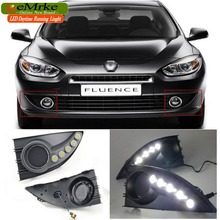 eeMrke Car High Power LED DRL For Renault Fluence 2011 2012 White DRL Fog Cover Daytime Running Lights Kits