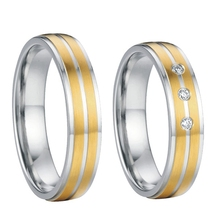 western gold color  titanium steel jewelry mens and womens wedding bands promise rings sets for couples alliance anel