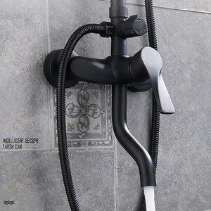Image 5 - Matte Black Rainfall Shower Faucet Set Single Lever Bathtub Shower Mixer Faucet with Storage Shelf Shower Hot Cold Water Tap