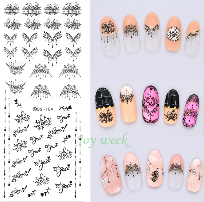 Water sticker for nail art all decorations sliders lace leaf love you adhesive nails design decals manicure accessoires foil пуловер art love art love ar029ewwxg72