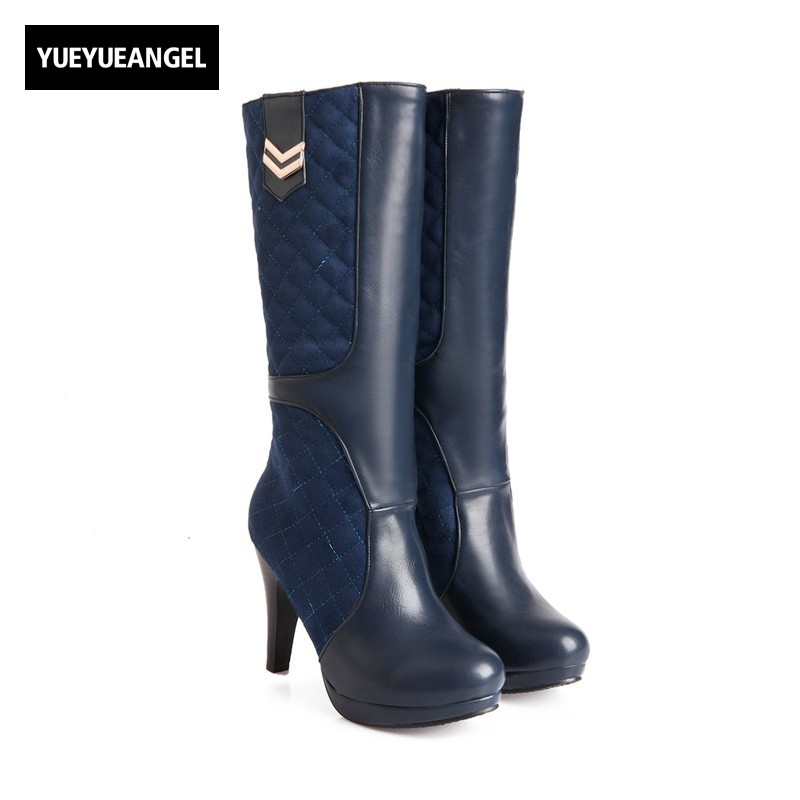 Womens Winter Boots Pu partner Leather Knee High Heel Shoes Thanksgiving Fleece Lining Botas Invierno Mujer Plus Size 32-43 Blue womens high boots vogue side zipper botas invierno mujer fashion buckle block chunky heel sapatos mulher suede size us 4 10 5