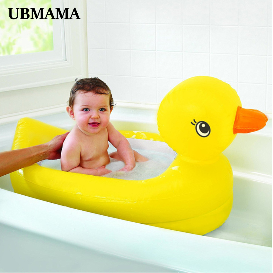 Yellow Duck Rectangular Child Inflatable Swimming Pool Thickened Plastic PVC Baby Cartoon Bathtub Inflatable Bottom Bathroom Tub