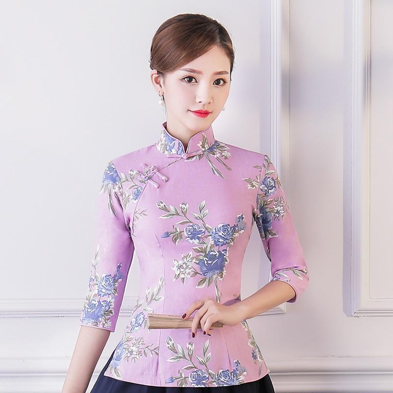 4a0df802e5cc 2018 Vintage estilo chino camisa Tops verano mujeres mandarín Collar blusa  señora ropa cheongsam corto Qipao vestido tamaño S-XXXL