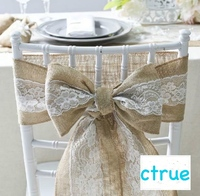 Free Shipping 15x240cm Elegant Burlap Lace Chair Sashes Jute Chair Tie Bow For Rustic Wedding Baby