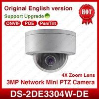 HIK Original DS 2DE3304W DE 3MP Network Mini PTZ Camera 4X Optical Zoom 2 8 12mm