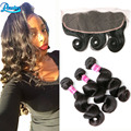 Brazilian Virgin Hair With Frontal Closure Bundle Loose Wave With Frontal 3 bundles Lace Frontal With Baby Hair And Bundles