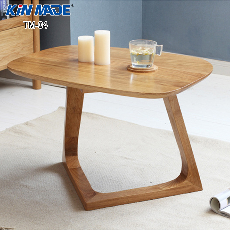 kinmade simple small oval furniture red oak solid wood coffee table sofa side table