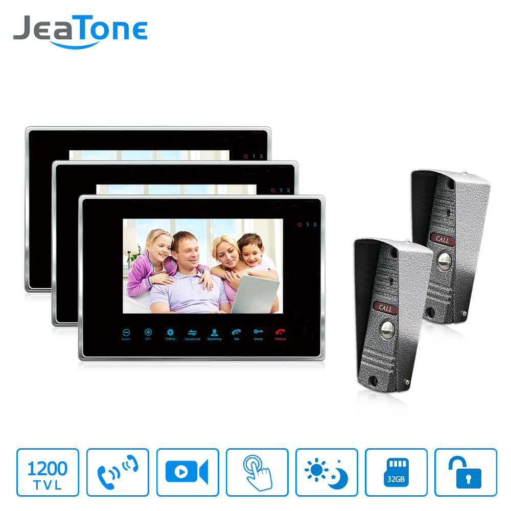 JeaTone Color 7 LCD Touch Key Monitor Video Door Phone Doorbell Intercom System Recording & Picture Memory IR Camera Kit 2v3 jeatone 7 lcd monitor wired video intercom doorbell 1 camera 2 monitors video door phone bell kit for home security system