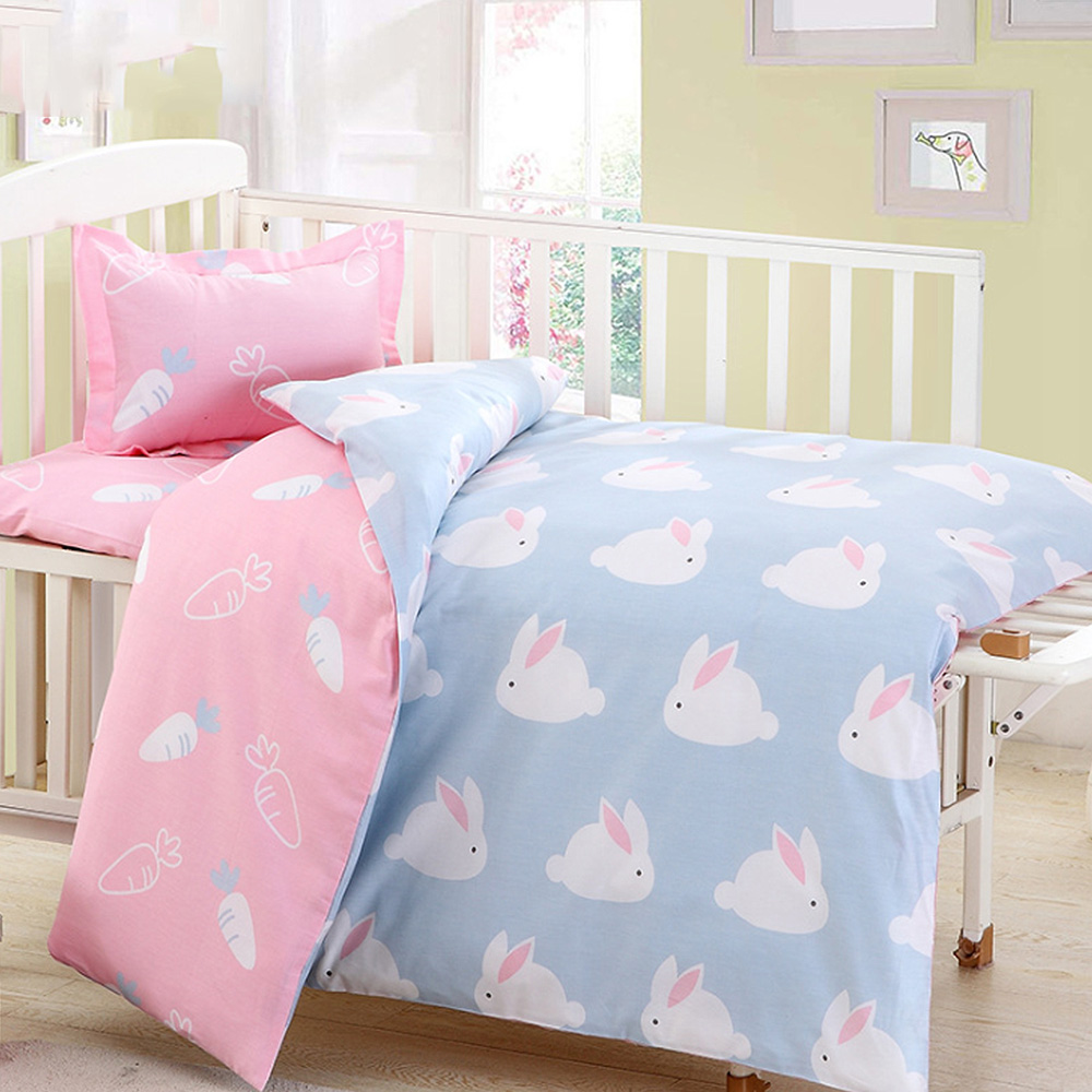 3Pcs Cotton Crib Bed Linen Kit For Boy Girl Cartoon Baby Bedding Set Includes Pillowcase Bed Sheet Duvet Cover