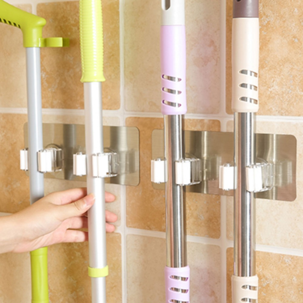 Wall Mop Hook Hanging Rack Powerful Suction Nail-free Seamless Storage Broom Stick Holder Stand Home Bathroom Kitchen