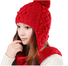 4 Colors Solid Color Hollow Winter Women Warm Ear Muff Knitted Hat Collar Scarf Beanie Hat Cute Handmade Crochet Knit Skully Cap