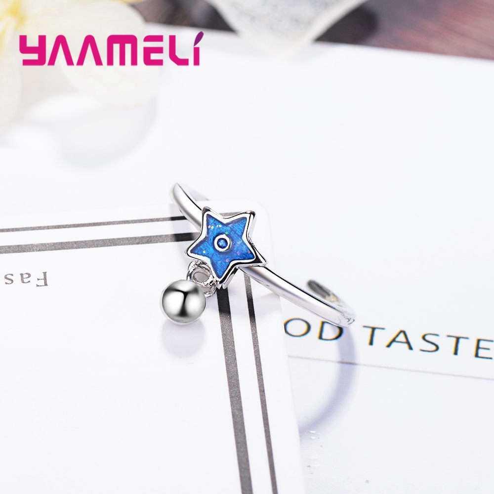 Новое поступление, модные 925 пробы серебряные кольца на палец, открытые кольца с голубой звездой из кубического циркония для женщин и девушек, ювелирные изделия