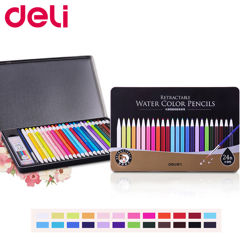 Deli water solubility 12/24 color pencil for kids Replaceable lead core For School Drawing Sketch case Art Supplies