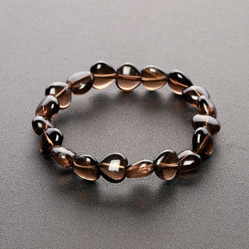 Sparer smoky quartz bracelet natural smoky quartz bracelets female heart crystal bracelet fashion