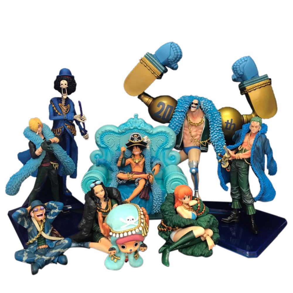 9 Styles Anime One Piece Luffy Zoro Nami Sanji Chopper God Usopp <font><b>Robin</b></font> Franky Brook PVC Action Figure 20th Anniversary Model Toy image
