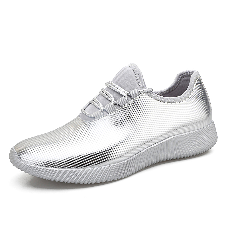 7373a91252 2019 Spring Tide Brand Tennis Shoes Women Sequin Leather Leisure Shoes  Female Sports Shoes Lady Shiny Silver Gold Platform Shoes