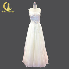 JIALINZEYI Real Picture spaghetti strap Leaf with Beads Sexy A-line Bridal Floor Length Light Nude Wedding Dresses Wedding Gown