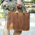 Pure Handmade Natural Genuine Leather men handbag Crazy Horse Leather shoulder messenger bag Vintage Leather Business Briefcase