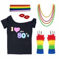 80s T shirt Costume Women I Love 90s Retro Disco Outfit with Gloves Accessories Rock N Roll Star Party Fancy Dress Novelty Gift