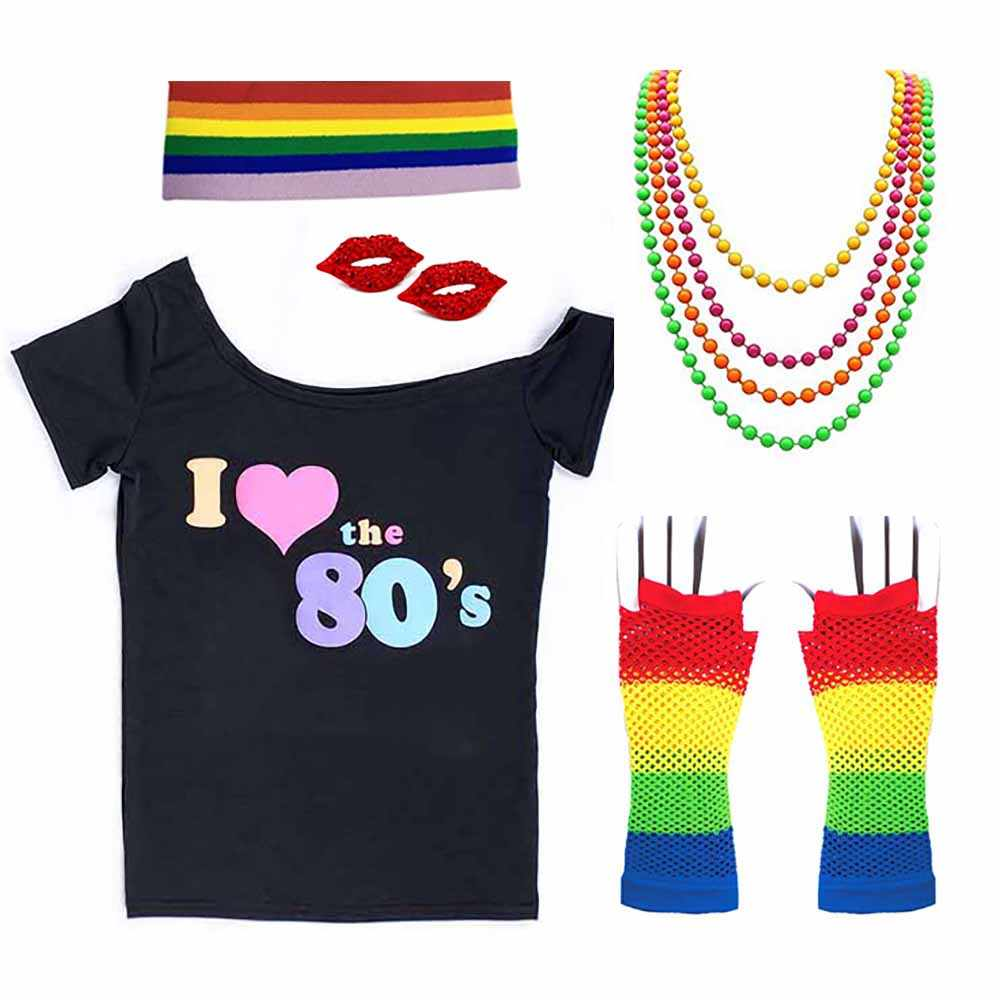 6dcd85a2eb9 80s T-shirt Costume Women I Love 90s Retro Disco Outfit with Gloves  Accessories Rock