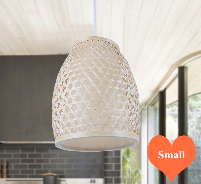 Chinese rustic handwoven bamboo Pendant Lights Southeast Asia style brief E27 LED small lamp for porch&parlor&stairs LHDD005 southeast asia style hand knitting bamboo art pendant lights modern rural e27 led lamp for porch