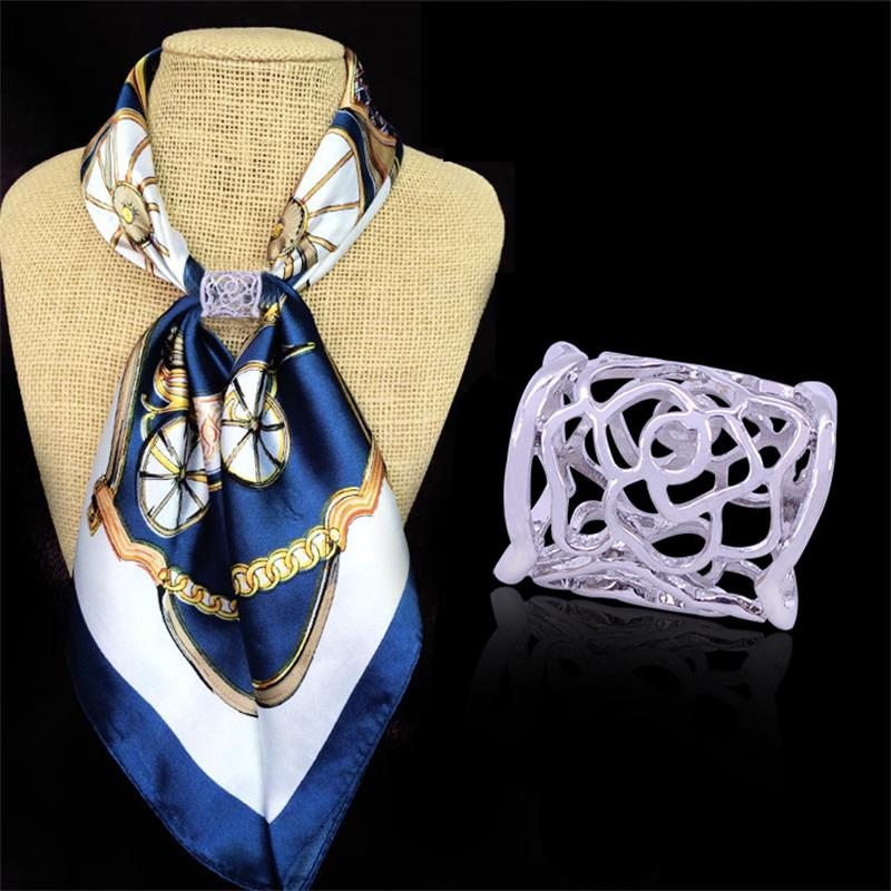 1Pc Fashion Women's Hollow Pattern Scarves Buckle Jewelry 2 Color Silver Gold Plated Simple Alloy Tube Scarf  Free Shipping