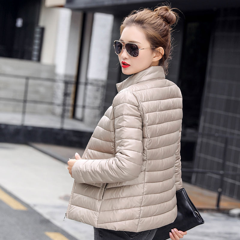 2019 New Spring Autumn Short Cotton Coats Slim Women Winter Jackets Stand Collar Down Cotton Coats Female   Parkas   FP2007