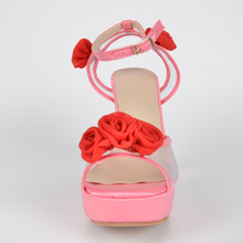 Tulle And  Satin Follower Women's Stiletto  Heel Platform Sandals sapatos femininos Fretwork With Buckle 2015 Women Shoes