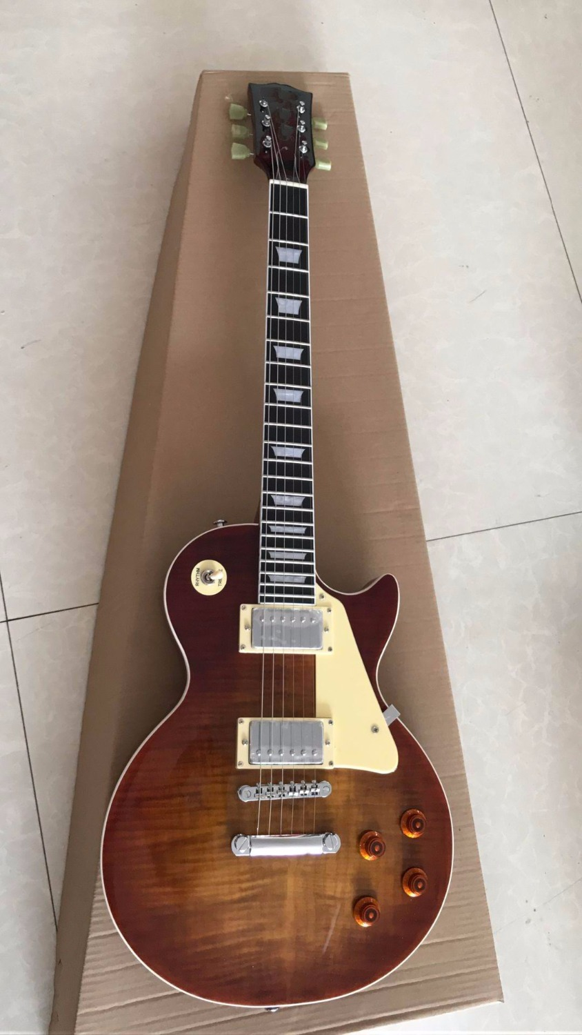 Wholesale Custom shop 50th Anniversary LP Reissue Aged Vintage Electric Guitar Ebony Cherry Sunburst tiger flame Top 170809
