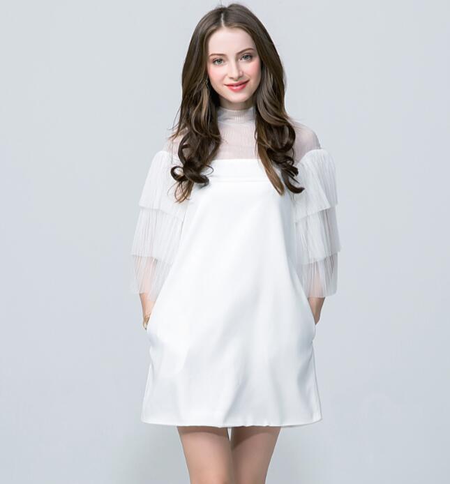 Cultiseed femmes robe les plus récentes femmes col roulé Perspective dentelle Net fil partie Mini robe avec manches évasées multi-niveaux